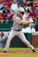 Baltimore Orioles second baseman Omar Quintanilla #35 at bat during the Major League Baseball game against the Texas Rangers on August 21st, 2012 at the Rangers Ballpark in Arlington, Texas. The Orioles defeated the Rangers 5-3. (Andrew Woolley/Four Seam Images).