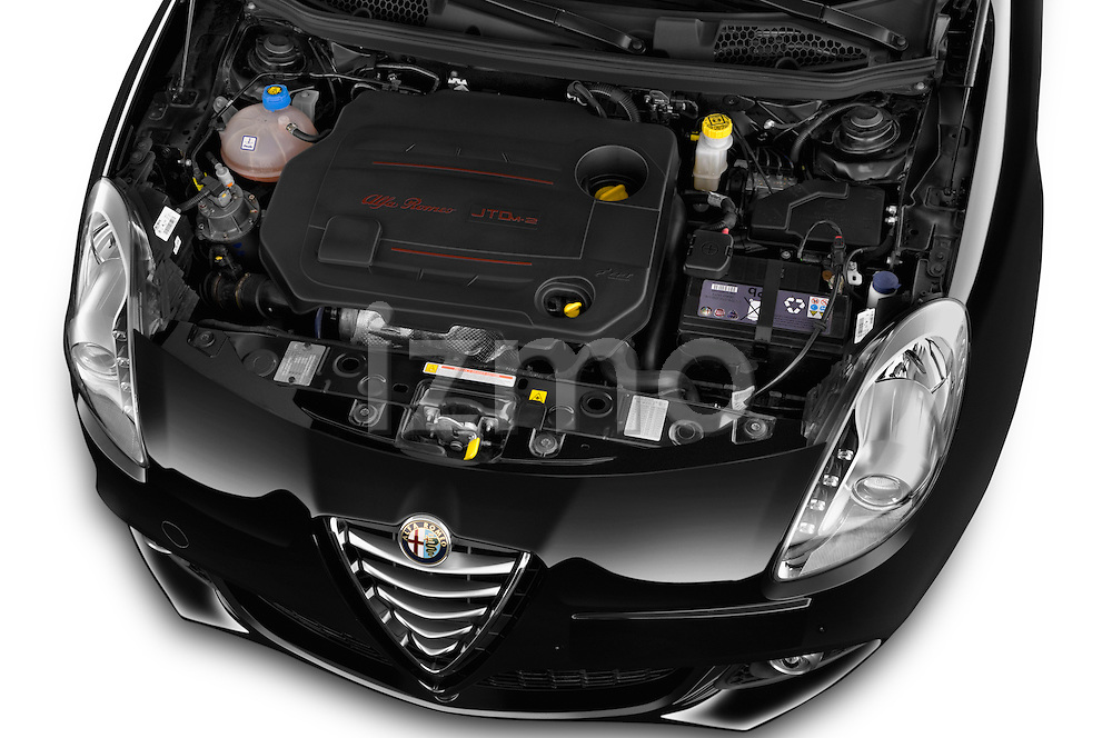 Car stock 2015 Alfa Romeo Giulietta Distictive 5 Door SUV engine high angle detail view