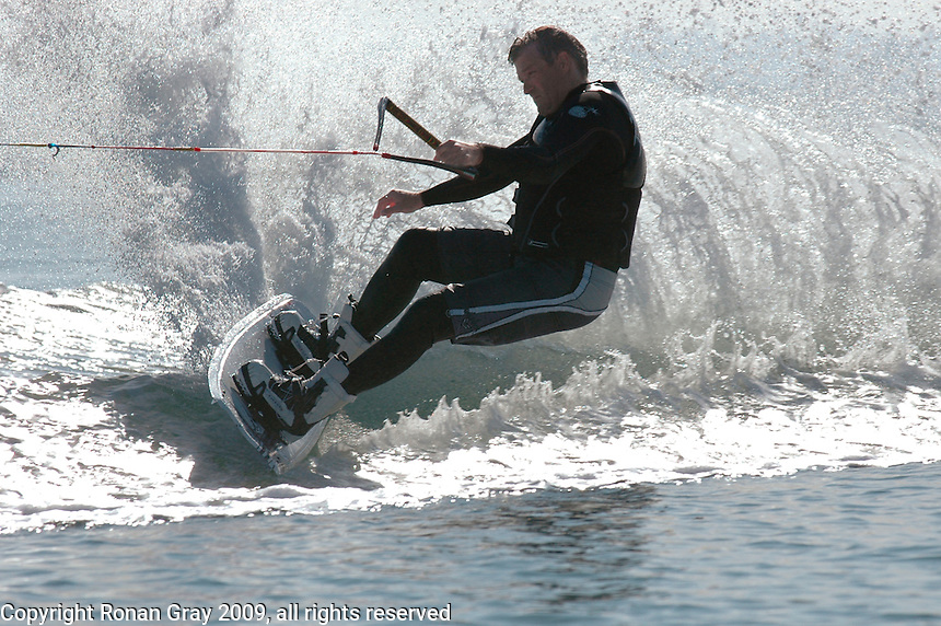 January 01, 2009.  Mission Bay, San Diego, CA, USA.  Murphy Sackett of SBR Wakeboarding enjoys a New Years Day ride on Mission Bay during the first annual Envy Ride hosted by SBR Wakeboarding and WakeboardSD.net.