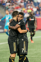 FOXBOROUGH, MA - AUGUST 3: Diego Rossi #9 of Los Angeles FC and Latif Blessing #7 of Los Angeles FC celebrate the goal during a game between Los Angeles FC and New England Revolution at Gillette Stadium on August 3, 2019 in Foxborough, Massachusetts.