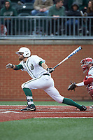 Drew Ober (18) of the Charlotte 49ers follows through on his swing against the Arkansas Razorbacks at Hayes Stadium on March 21, 2018 in Charlotte, North Carolina.  The 49ers defeated the Razorbacks 6-3.  (Brian Westerholt/Four Seam Images)