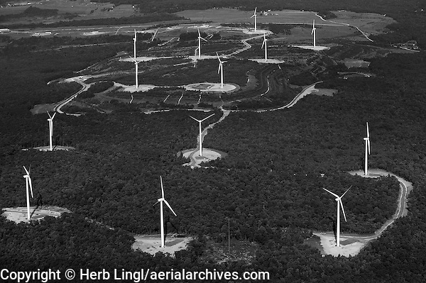 aerial view above wind turbines deciduous forest Appalachian mountains Pennsylvania