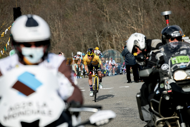 Slovenian Champion Primoz Roglic (SLO) Team Jumbo-Visma attacks on the final ascent of Mont Brouilly during Stage 4 of Paris-Nice 2021, running 187.5km from Chalon-sur-Saone to Chiroubles, France. 10th March 2021.<br /> Picture: ASO/Fabien Boukla | Cyclefile<br /> <br /> All photos usage must carry mandatory copyright credit (© Cyclefile | ASO/Fabien Boukla)