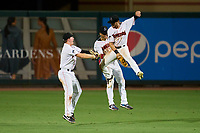 Jupiter Hammerheads outfielders Troy Johnston (6), Victor Mesa Jr. (10), J.D. Orr (12) celebrate closing out a game against the Palm Beach Cardinals on May 11, 2021 at Roger Dean Stadium in Jupiter, Florida.  (Mike Janes/Four Seam Images)