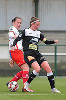 Ulrike De Frere (7) of Zulte Waregem and Chloe Van Mingeroet (17) of Eendracht Aalst  pictured during a female soccer game between SV Zulte - Waregem and Eendracht Aalst on the 9 th matchday in play off 2 of the 2020 - 2021 season of Belgian Scooore Womens Super League , saturday 22 nd of May 2021  in Zulte , Belgium . PHOTO SPORTPIX.BE   SPP   DIRK VUYLSTEKE