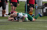 Lewis Thiede of Ealing Trailfinders scores a try during the Greene King IPA Championship match between Ealing Trailfinders and Ampthill RUFC being played behind closed doors due to the COVID-19 pandemic restrictions at Castle Bar , West Ealing , England  on 13 March 2021. Photo by Alan Stanford / PRiME Media Images