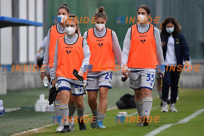 Hellas Verona players wear mask during the women Serie A football match between US Sassuolo and Hellas Verona at Enzo Ricci stadium in Sassuolo (Italy), November 15th, 2020. Photo Andrea Staccioli / Insidefoto