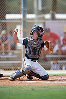 Dylan Post during the WWBA World Championship at the Roger Dean Complex on October 19, 2018 in Jupiter, Florida.  Dylan Post is a catcher from New Lenox, Illinois who attends Lincoln-Way Central High School and is committed to Houston.  (Mike Janes/Four Seam Images)