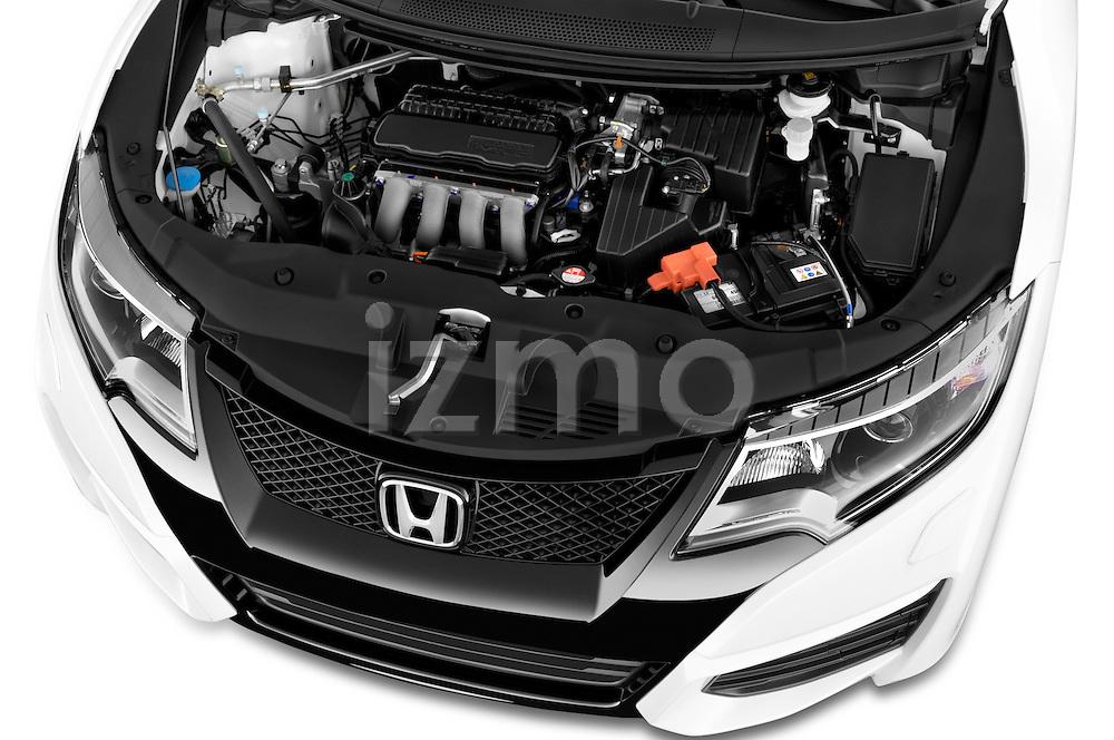 Car Stock 2015 Honda Civic Comfort 5 Door Hatchback Engine  high angle detail view
