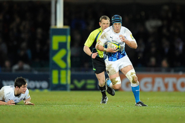 Ben Skirving of Bath Rugby accelerates upfield during the LV= Cup match between Exeter Chiefs and Bath Rugby at Sandy Park Stadium on Sunday 5th February 2012 (Photo by Rob Munro)