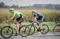 Sep Vanmarcke (BEL/Cannondale-Drapac) & Jens Keukeleire (BEL/Orica-Scott) sharing a (good) joke mid-race<br /> <br /> 98th Milano - Torino 2017 (ITA) 186km