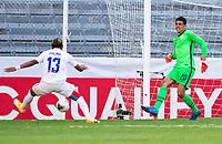 GUADALAJARA, MEXICO - MARCH 28: David Ochoa #20 of the United States kicks the ball to the feet of Luis Palma #13 of Honduras during a game between Honduras and USMNT U-23 at Estadio Jalisco on March 28, 2021 in Guadalajara, Mexico.