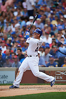 Chicago Cubs first baseman Anthony Rizzo (44) hits a home run during a game against the Milwaukee Brewers on August 13, 2015 at Wrigley Field in Chicago, Illinois.  Chicago defeated Milwaukee 9-2.  (Mike Janes/Four Seam Images)