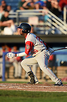 Brooklyn Cyclones outfielder John Mora (26) at bat during a game against the Batavia Muckdogs on August 9, 2014 at Dwyer Stadium in Batavia, New York.  Batavia defeated Brooklyn 4-2.  (Mike Janes/Four Seam Images)
