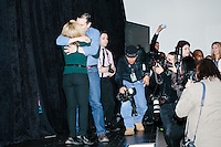 Texas senator and Republican presidential candidate Ted Cruz embraces his wife Heidi Nelson Cruz after she introduced him at a town hall at Crossing Life Church in Windham, New Hampshire, on Tues. Feb. 2, 2016. The day before, Cruz won the Iowa caucus.