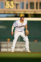 Bradenton Marauders second baseman Jackson Glenn (10) during Game Two of the Low-A Southeast Championship Series against the Tampa Tarpons on September 22, 2021 at LECOM Park in Bradenton, Florida.  (Mike Janes/Four Seam Images)
