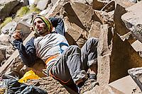 Lucho Birkner chilling, Valle de los Condores, Chile