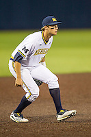 Michigan Wolverines third baseman Jake Bivens (18) on defense against the Oakland Golden Grizzlies on May 17, 2016 at Ray Fisher Stadium in Ann Arbor, Michigan. Oakland defeated Michigan 6-5 in 10 innings. (Andrew Woolley/Four Seam Images)