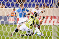 Juan Agudelo (17) of the New York Red Bulls is denied by FC New York goalkeeper Steven Diaz (13). The New York Red Bulls defeated FC New York 2-1 during a third round match of the 2011 Lamar Hunt US Open Cup at Red Bull Arena in Harrison, NJ, on June 28, 2011.