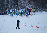 The start of the  Women's 20k Classic during the 2018 U.S. National Cross Country Ski Championships at Kincaid Park in Anchorage.