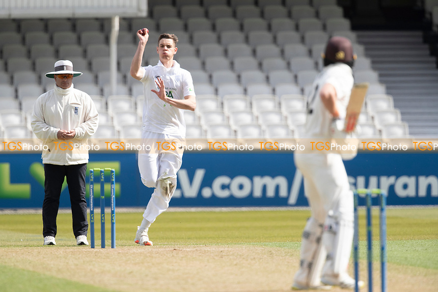 Scott Currie, Hampshire CCC about to bowl to Ollie Pope during Surrey CCC vs Hampshire CCC, LV Insurance County Championship Group 2 Cricket at the Kia Oval on 30th April 2021