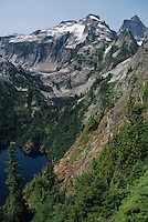 View of tri-level Thornton Lakes in the North Cascades National Park, Washington State