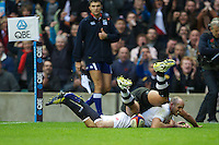 Charlie Sharples of England dives over to score a try during the QBE International between England and Fiji at Twickenham on Saturday 10th November 2012 (Photo by Rob Munro)