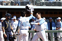 CHAPEL HILL, NC - MARCH 08: Aaron Sabato #19 of the University of North Carolina celebrates his home run with Angel Zarate #40 during a game between Notre Dame and North Carolina at Boshamer Stadium on March 08, 2020 in Chapel Hill, North Carolina.