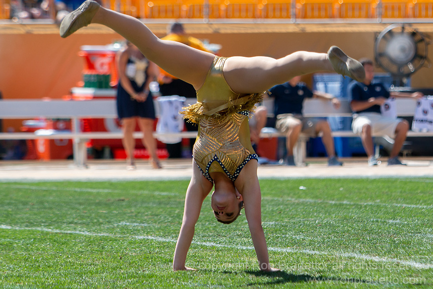 A Pitt Golden Girl majorette performs before the game. The Pitt Panthers football team defeated the Albany Great Danes 33-7 on September 01, 2018 at Heinz Field, Pittsburgh, Pennsylvania.
