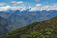 """The Cordillera Blanca (Spanish for """"white range"""") is a mountain range in Peru that is part of the larger Andes range and extends for 200 km, it includes several peaks over 6,000 metres (19,690 ft) high and 722 individual glaciers. The highest mountain in Peru, Huascarán, at 6,768 metres (22,205 ft) high."""
