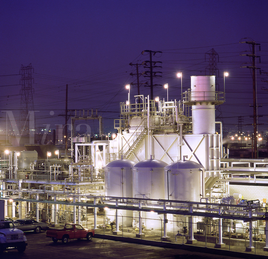 Night view of small industrial electricity              co-generation plant. Los Angeles, United States of America..