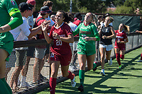 STANFORD, CA - SEPTEMBER 12: Andrea Kitahata and Katie Meyer after a game between Loyola Marymount University and Stanford University at Cagan Stadium on September 12, 2021 in Stanford, California.
