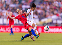 PHILADELPHIA, PA - AUGUST 29: Emily Sonnett #14 of the United States defends Claudia Neto #7 of Portugal during a game between Portugal and the USWNT at Lincoln Financial Field on August 29, 2019 in Philadelphia, PA.