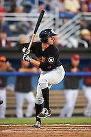 West Virginia Black Bears designated hitter Jordan George (3) at bat during a game against the Batavia Muckdogs on June 29, 2016 at Dwyer Stadium in Batavia, New York.  West Virginia defeated Batavia 9-4.  (Mike Janes/Four Seam Images)