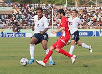 Juan Agudelo controls the ball. US Under-17 Men's National Team defeated United Arab Emirates 1-0 at Gateway International  Stadium in Ijebu-Ode, Nigeria on November 1, 2009.
