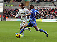 Saturday, 03 November 2012<br /> Pictured L-R: Jonathan de Guzman of Swansea challenging Ashley Cole of Chelsea<br /> Re: Barclays Premier League, Swansea City FC v Chelsea at the Liberty Stadium, south Wales.
