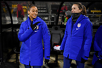 COLUMBUS, OH - NOVEMBER 07: Lynn Williams #27 and  Andi Sullivan #25 of the United States bench during a game between Sweden and USWNT at MAPFRE Stadium on November 07, 2019 in Columbus, Ohio.