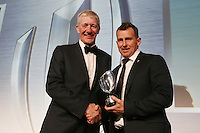 LONDON, ENGLAND - NOVEMBER 01:  Referee Nigel Owen (R) of Wales receives the World Rugby Referee award from John Jeffrey (L) during the World Rugby Awards 2015 at Battersea Evolution on November 1, 2015 in London, England.  (Photo: World Rugby)