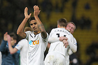 Kyle Naughton of Swansea City thanks away supporters during the Premier League match between Watford and Swansea City at the Vicarage Road, Watford, England, UK. Saturday 30 December 2017