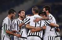 Calcio, Serie A: Lazio vs Juventus. Roma, stadio Olimpico, 4 dicembre 2015.<br /> Juventus' Paulo Dybala, second from right, celebrates with teammates after scoring during the Italian Serie A football match between Lazio and Juventus at Rome's Olympic stadium, 4 December 2015.<br /> UPDATE IMAGES PRESS/Isabella Bonotto