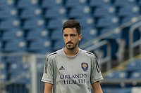 FOXBOROUGH, MA - AUGUST 7: Adam Ozeri #57 of Orlando City B warms up before a game between Orlando City B and New England Revolution II at Gillette Stadium on August 7, 2020 in Foxborough, Massachusetts.
