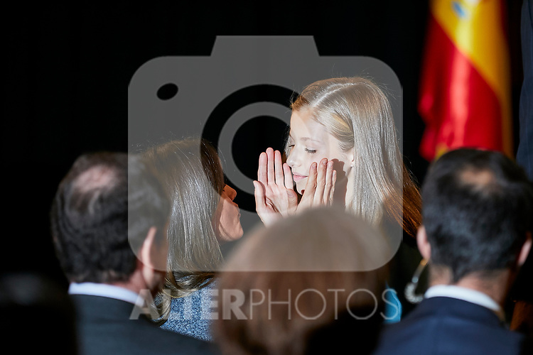 Queen Letizia of Spain and Princess Leonor of Spain attends to the Reading of the Spanish Constitution for the 40th anniversary of its approval by the Congress at Instituto Cervantes in Madrid, Spain. October 31, 2018. (ALTERPHOTOS/A. Perez Meca)