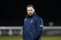 Stevie Scott of London Scottish oversees warm ups during the Greene King IPA Championship match between London Scottish Football Club and Nottingham Rugby at Richmond Athletic Ground, Richmond, United Kingdom on 7 February 2020. Photo by Carlton Myrie.