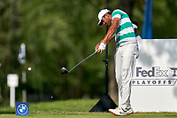 OLYMPIA FIELDS, IL - AUGUST 30: Tony Finau of the United States hits his tee shot at the 18th hole during the final round of the BMW Championship on the (North) Course at Olympia Fields Country Club