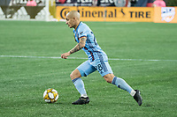 FOXBOROUGH, MA - SEPTEMBER 29: Alexandru Mitrita #28 of New York City FC brings the ball forward during a game between New York City FC and New England Revolution at Gillettes Stadium on September 29, 2019 in Foxborough, Massachusetts.
