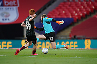 Goalkeeper Jonathan Maxted of Exeter City does enough to put off Callum Morton (on loan from WBA) of Northampton Town during the Sky Bet League 2 PLAY-OFF Final match between Exeter City and Northampton Town at Wembley Stadium, London, England on 29 June 2020. Photo by Andy Rowland.