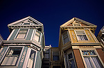 Victorian style homes close up of ornate exterior in Haight Ashbury <br />  San Francisco, California USA