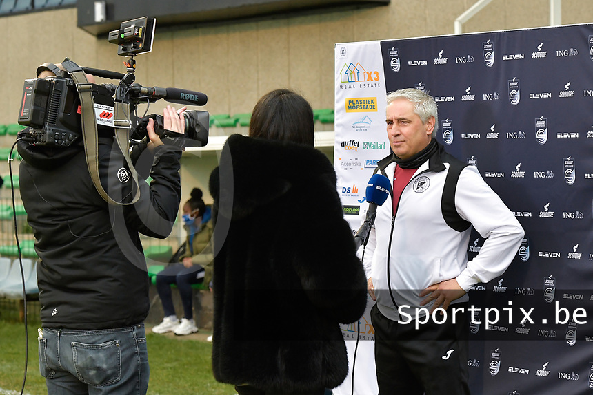 Head coach Dirk Decoen  (Aalst)  pictured during an interview with Eleven Sport before a female soccer game between Eendracht Aalst and AA Gent Ladies on the 10 th matchday of the 2020 - 2021 season of Belgian Scooore Womens Super League , Saturday 19 th of December 2020  in Aalst , Belgium . PHOTO SPORTPIX.BE   SPP   DIRK VUYLSTEKE