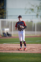 Grant Wilson (12) of Cave Spring High School in Roanoke, Virginia during the Baseball Factory All-America Pre-Season Tournament, powered by Under Armour, on January 13, 2018 at Sloan Park Complex in Mesa, Arizona.  (Mike Janes/Four Seam Images)