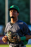 Clinton LumberKings second baseman Joseph Rosa (22) jogs to the dugout between innings during a Midwest League game against the Wisconsin Timber Rattlers on June 29, 2018 at Fox Cities Stadium in Appleton, Wisconsin. Clinton defeated Wisconsin 9-7. (Brad Krause/Four Seam Images)